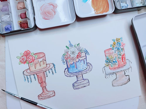 Hand Painted Line & wash Watercolor Painting  - Illustration of Cakes - 1 , Prin