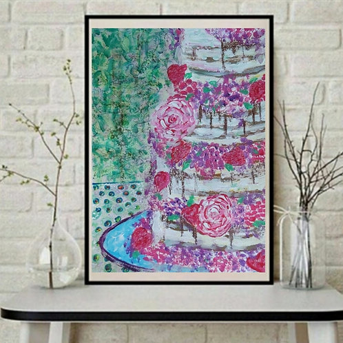 All is not yet lost - Cake & Floral Paper Painting Unframed - Original Painting