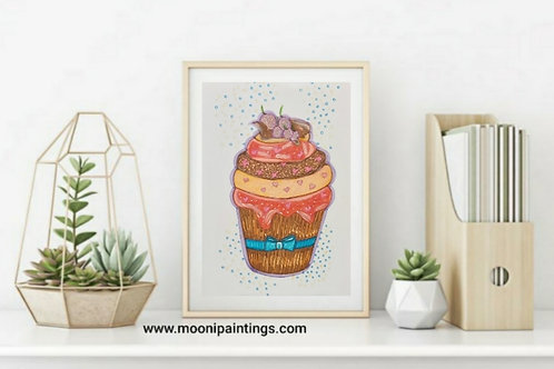 Yummy Cupcake Series -3 Hand Drawn , Printable Art