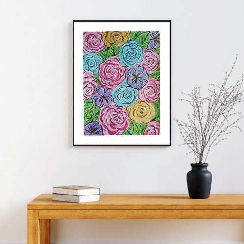 You are pretty - Floral Paper Painting Unframed - Original Painting