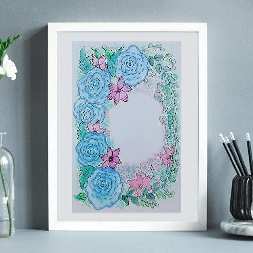 Hand Painted Floral Wreath Illustration Series - 1, Printable Art