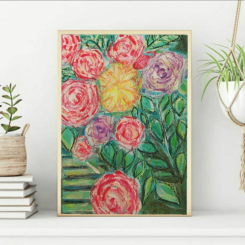 I will find my way in dark - Floral Paper Painting Unframed - Original Painting