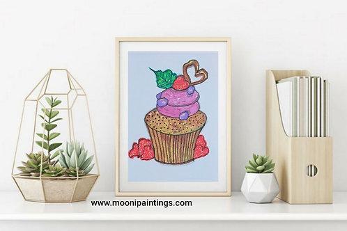 Yummy Cupcake Series -1 Hand Drawn , Printable Art
