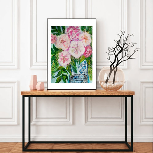 Enchanted Soul - Floral Paper Painting Unframed - Original Painting