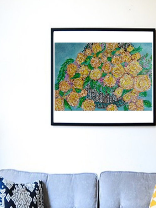 Happiness - Floral paper Painting Unframed - Original Painting