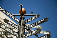 Directional Sign Post With Mixed Message