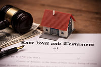 Last will and testament form with gavel.