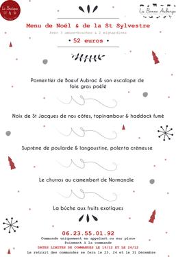 Ces menus sont diponibles uniquement pour Noël & Nouvel an