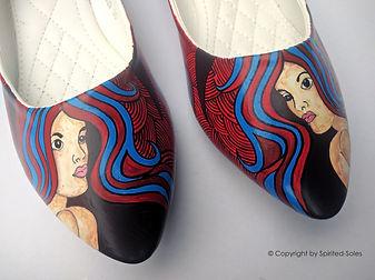 footwear, ladies, women, female, formal, casual, formal shoes, casual shoes, red, blue, girl, curl, curly, peeptoes, wedges, heels, ballerinas, heels, custom, hand, painted, shoes, Custom hand painted shoes, custom handpainted shoes