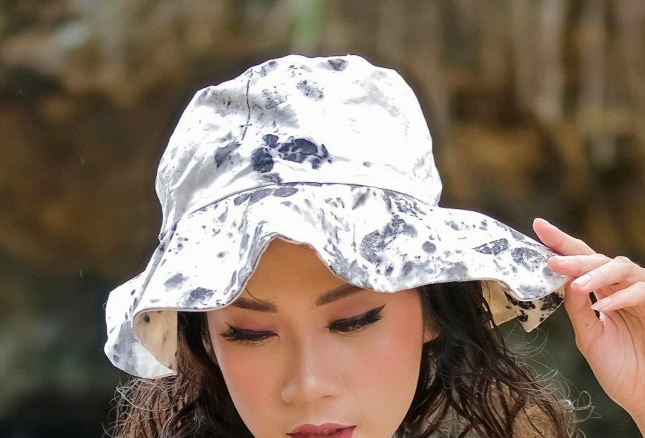Merilyn Eco Print Hat in Black Ink