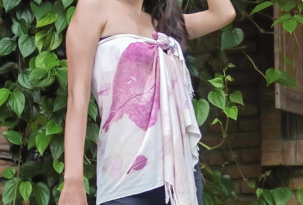 Merilyn Eco Print Pasmina in Purple Love