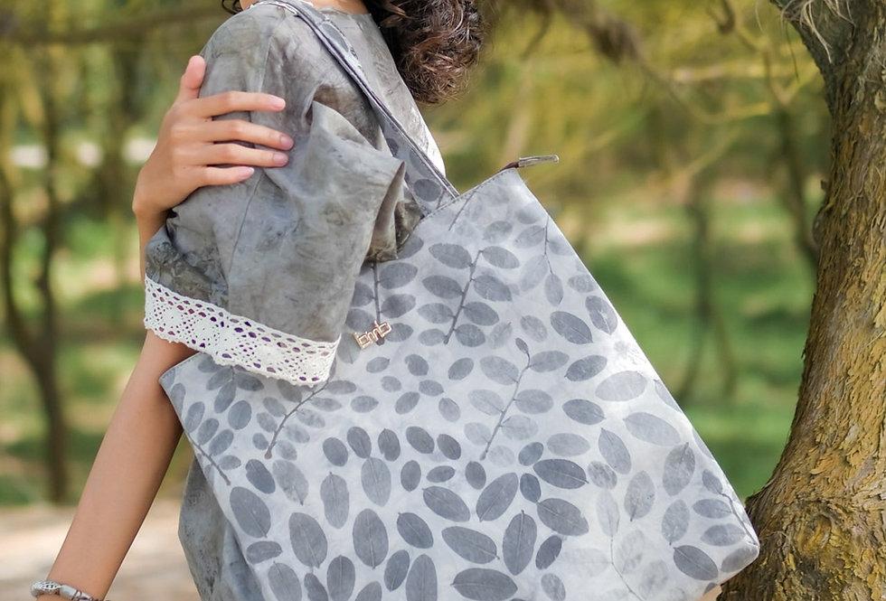 Victoria Eco Print Tote Bag in Silver Drops