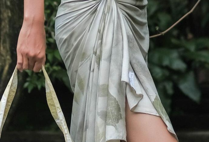 Esmeralda Eco Print Voile Pareo in Green Olive