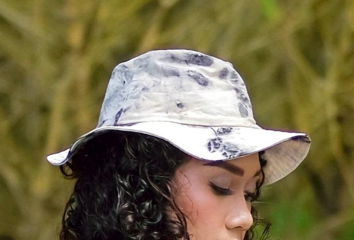 Grace Eco Print Hat in Black Ink