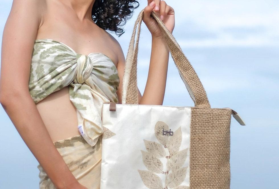 Magnolia Eco Print Tote Bag in Ivory Powder