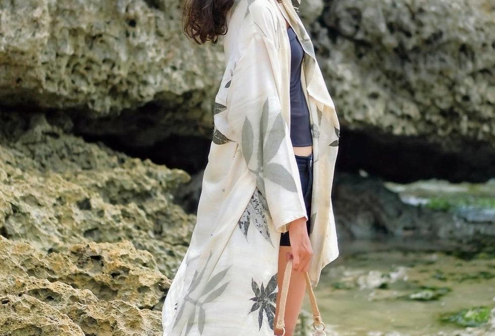 Serena Eco Print Kimono in Gray Ink