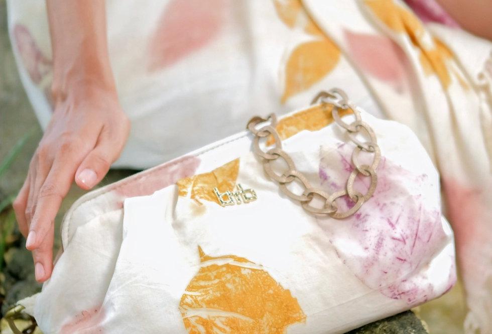 Katia Eco Print Chain Purse Bag in Purple Coral