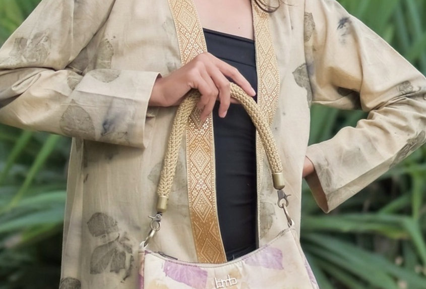 Olivia Eco Print Shoulder Bag in Purple Coral