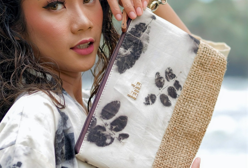 Elizabeth Eco Print Clutch Bag in Black Ink