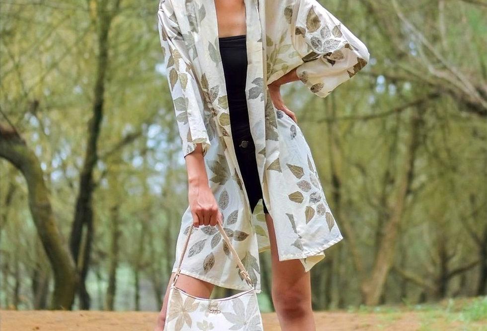 Serena Eco Print Kimono in Green Tea