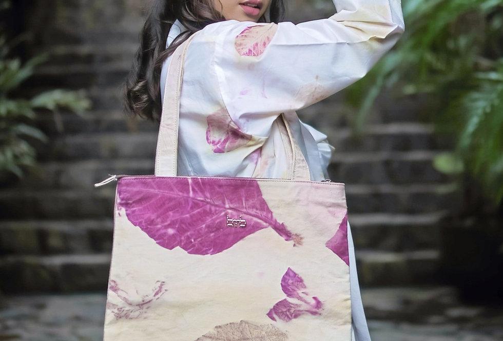 Victoria Eco Print Tote  Bag in Purple Love