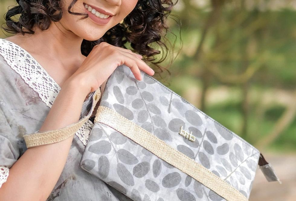 Victoria Eco Print Clutch Bag in Silver Drops