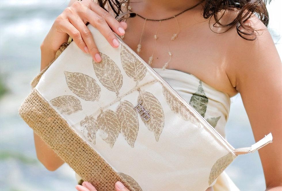 Magnolia Eco Print Clutch  Bag in Ivory Powder