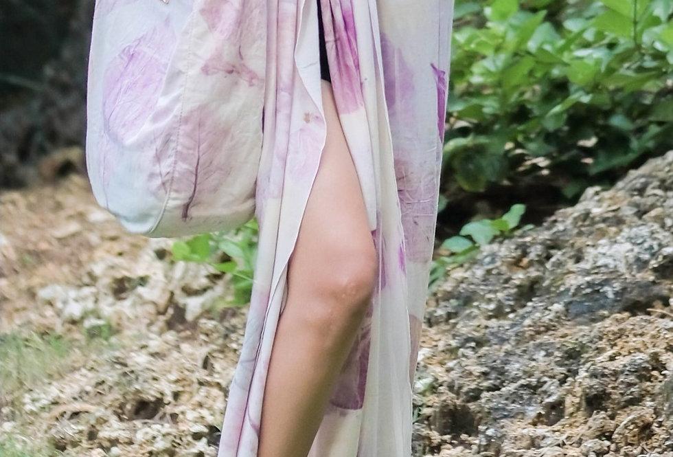Esmeralda Eco Print Voile Pareo in Purple Love