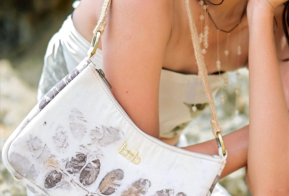 Olivia Eco Print Shoulder Bag in Gray Ink