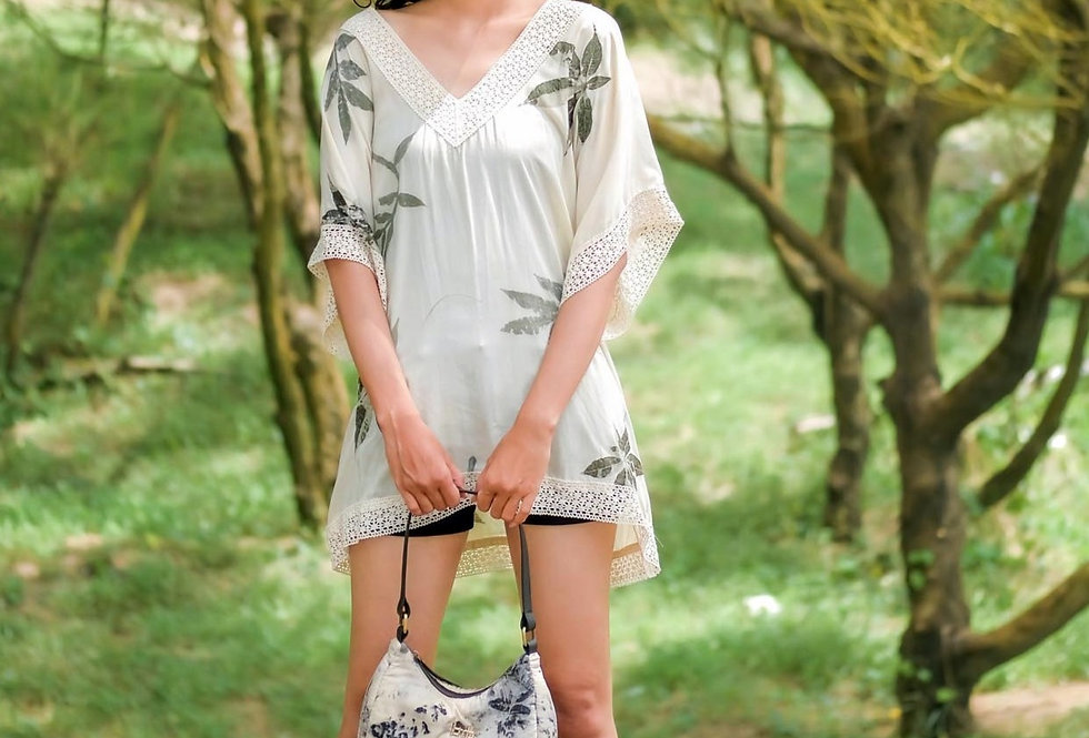 Rosie Eco Print Tunic Top in Gray Ink