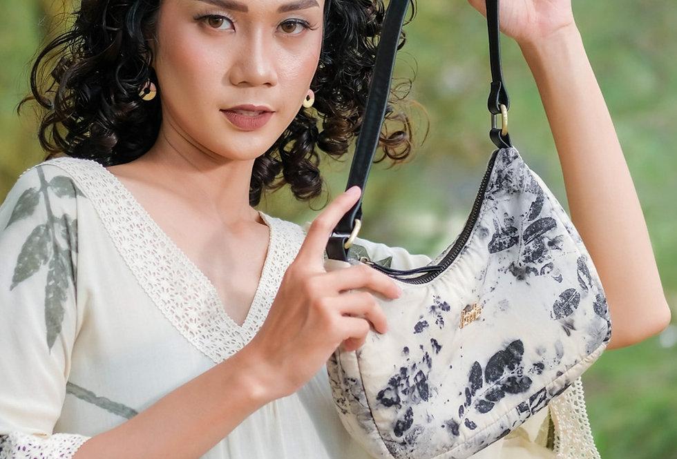 Olivia Eco Print Shoulder Bag in Black Ink