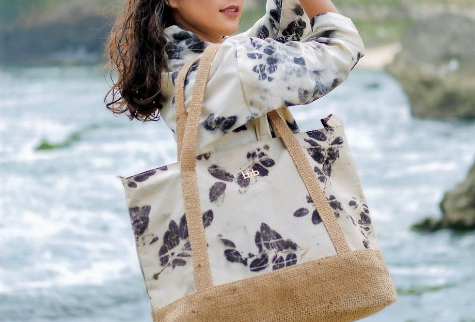 Elizabeth Eco Print Beach Bag in Black Ink