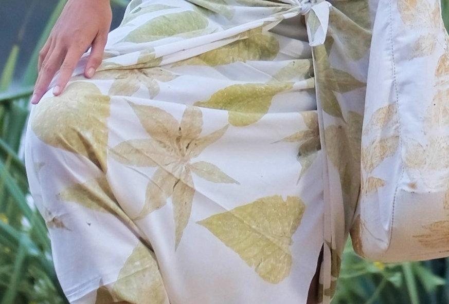 Esmeralda Eco Print Voile Pareo in Green Leaves