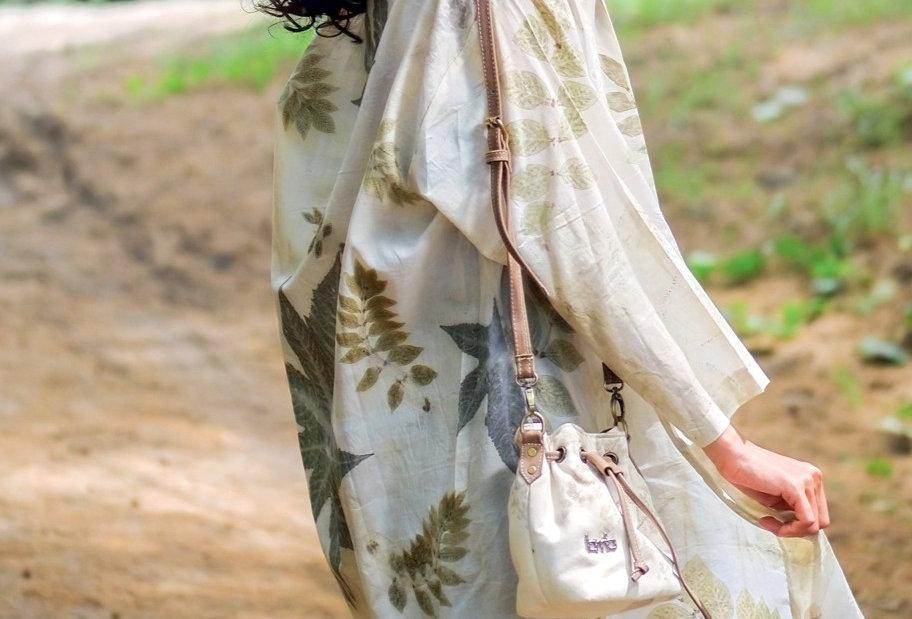Serena Eco Print Kimono in Ivory Powder