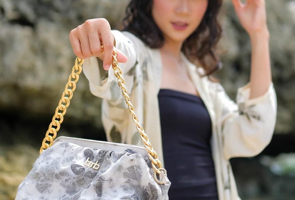 Katia Eco Print Chain Purse Bag in Gray Ink