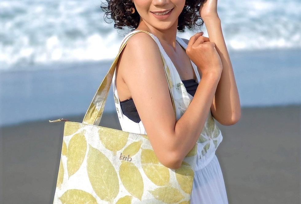 Victoria Eco Print Tote Bag in Yellow Lemon