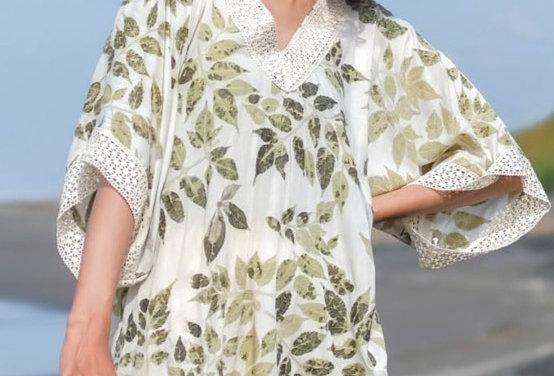 Rosie Eco Print Tunic Top in Green Tea