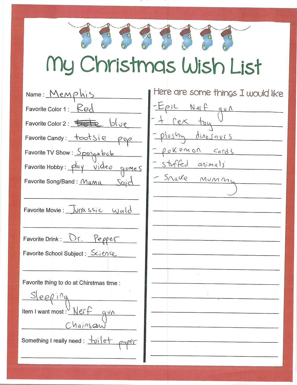 Memphis' Christmas Wish List