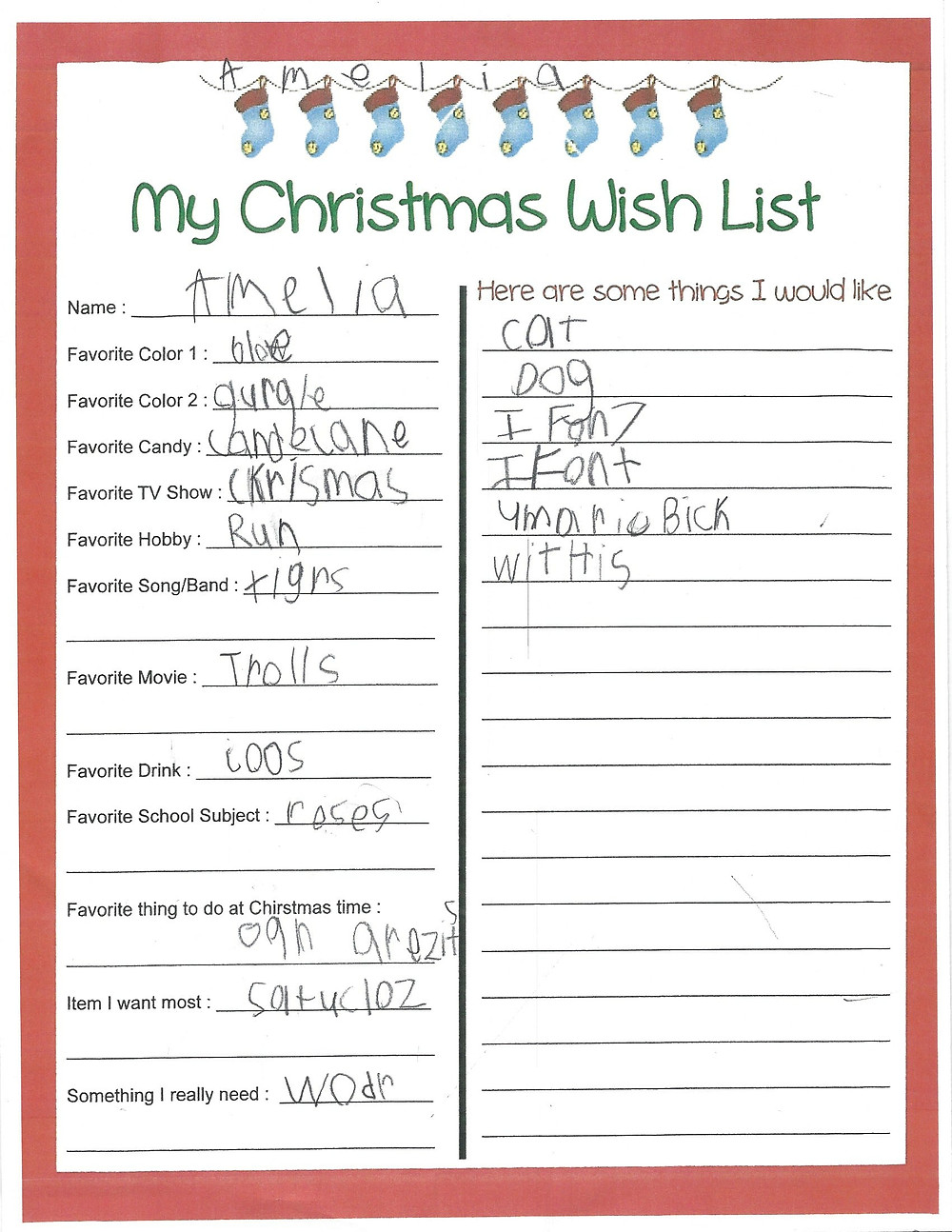 Amelia's Christmas Wish List