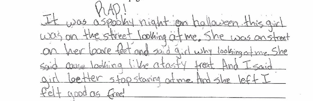 """""""I was a spooky RAD! Night on halloween this girl was on the street looking at me. She was on street on her leave feet and said girl why looking at me. She said cause looking like a tasty treat. And I said girl better stop staring at me. And she left I felt good as free!"""""""
