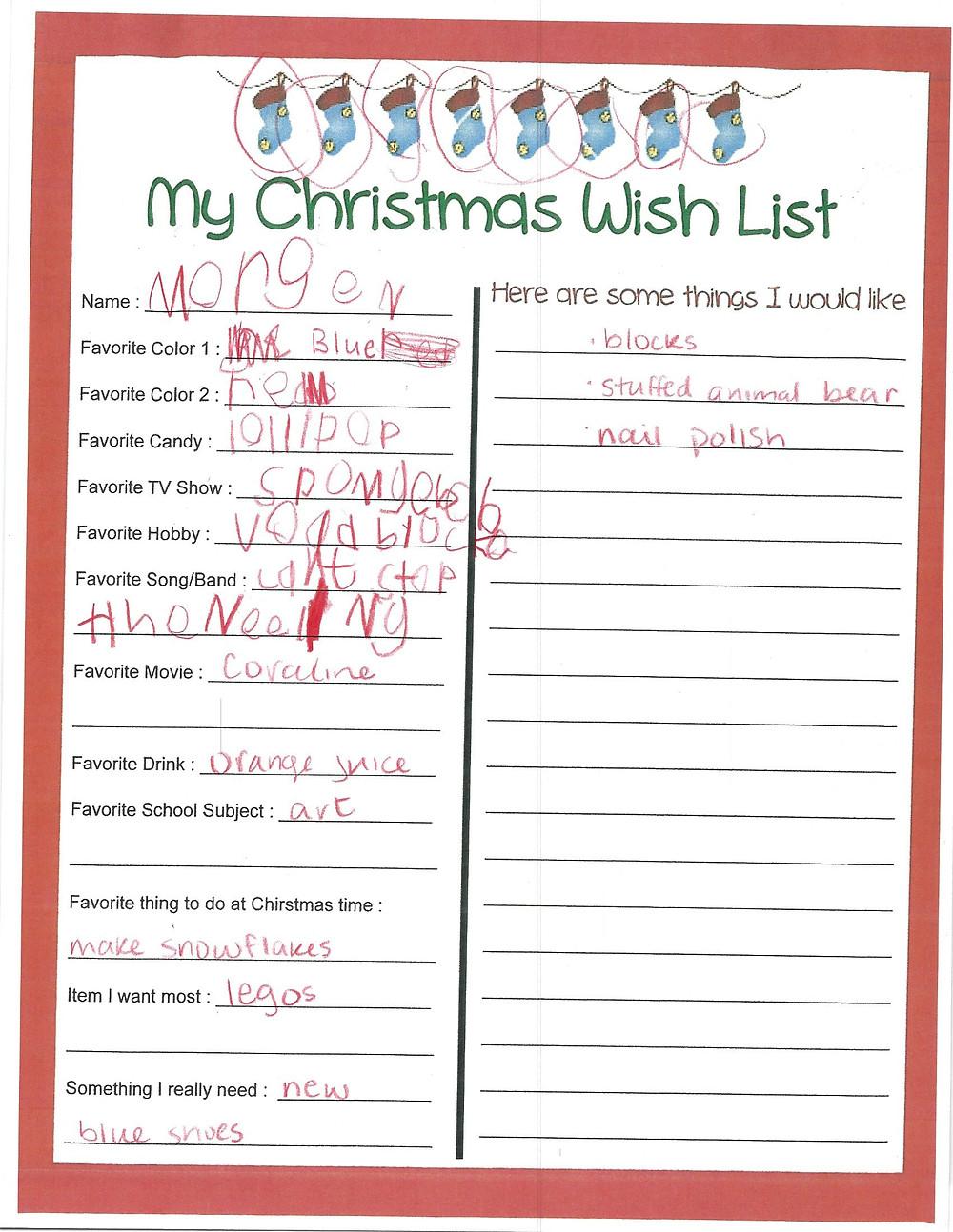 Morgen's Christmas Wish List