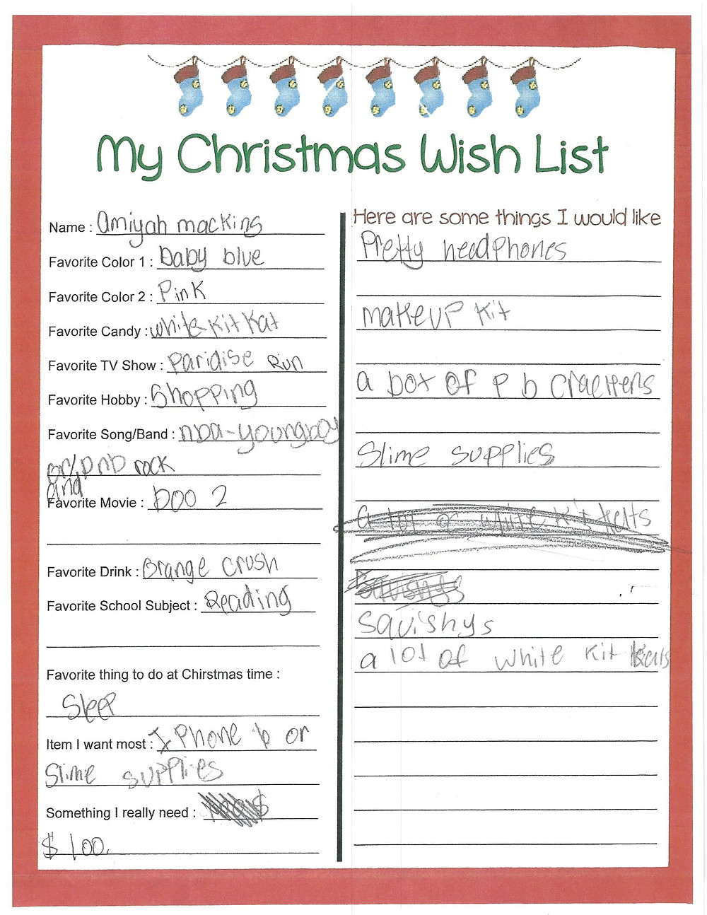 Amiyah's Christmas Wish List