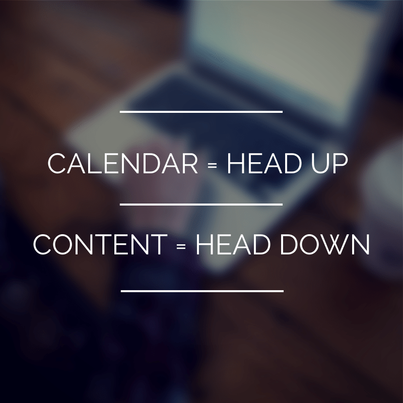 Calendar head up content head down