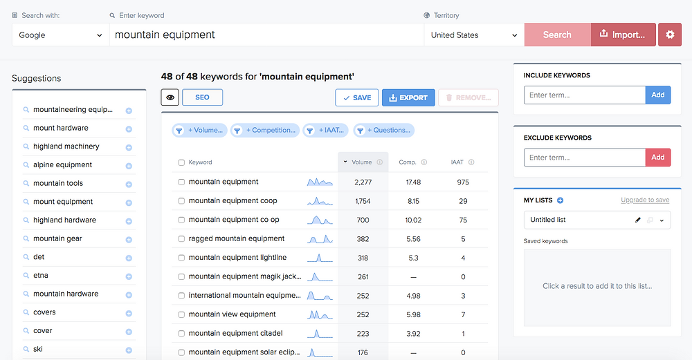 Wordtracker keyword research tool SEO