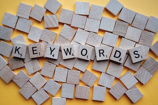 Keywords written in scrabble letters