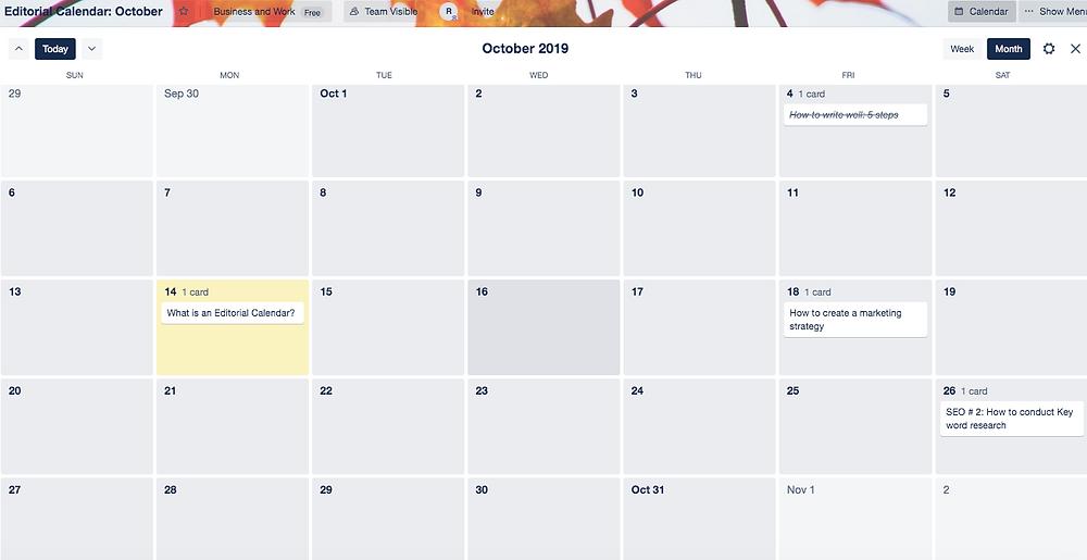 Blog editorial calendar in Trello screenshot