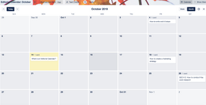 Blog editorial calendar in Trello screenshot