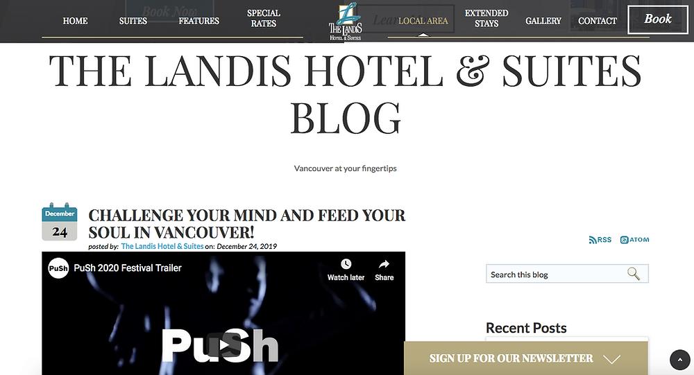Landis Hotel Suites blog