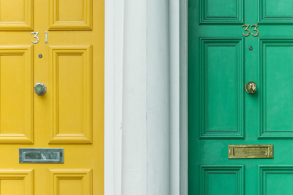 Yellow and green door in the face technique for business
