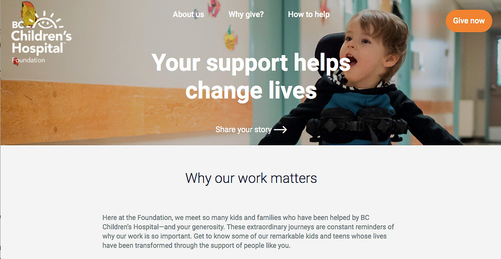 Screenshot of BC Children's Hospital blog page with donation button